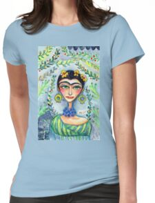 Frida in her Garden  Womens Fitted T-Shirt