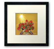 Yellow Sky, Sun, and Red Flowers Framed Print