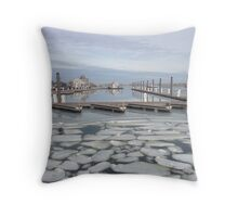 boat docks in winter Throw Pillow