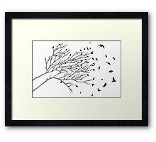 Tree Birds (Black & White) Framed Print