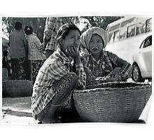 Enjoying festival on the side of street in Bagan, Myanmar Poster