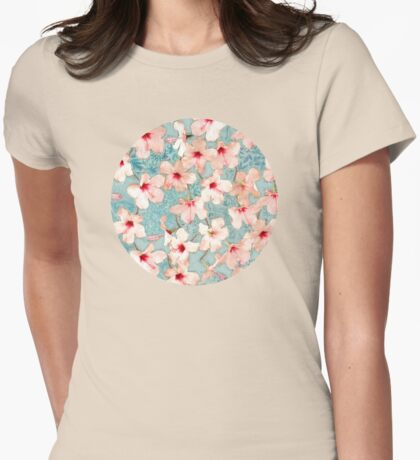Shabby Chic Hibiscus Patchwork Pattern in Peach & Mint Womens Fitted T-Shirt