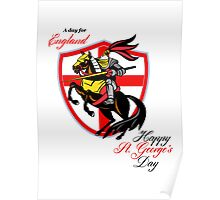 A Day For England Happy St George Day Retro Poster Poster