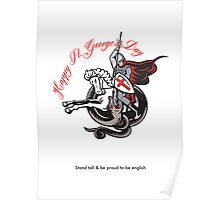 Stand Tall Proud English Happy St George Stand Retro Poster Poster