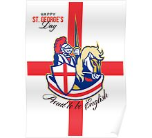 Happy St George Day Proud to Be English Retro Poster Poster