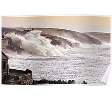 The Battering Of Porthleven by Storm Charlie 8.1.14 Poster