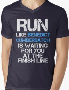 Run Like Benedict Cumberbatch is Waiting (dark shirt) Mens V-Neck T-Shirt