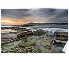 Adventure Bay rocks and waves (HDR) - Bruny Island, Tasmania Poster