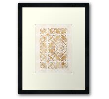 White Doodle Pattern on Sepia Ink Framed Print