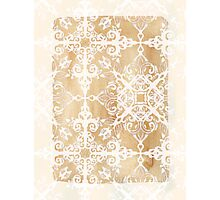 White Doodle Pattern on Sepia Ink Photographic Print