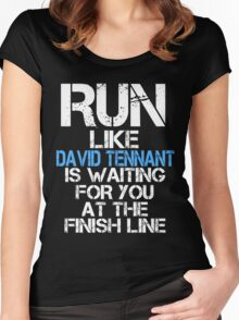 Run Like David Tennant is Waiting (dark shirt) Women's Fitted Scoop T-Shirt