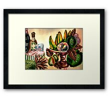 A bowl of fruits and drinks on the rocks Framed Print