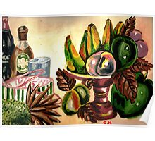 A bowl of fruits and drinks on the rocks Poster