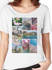 Beautiful Sakura Cherry Blossoms Park Pond Garden Spring Women's Relaxed Fit T-Shirt