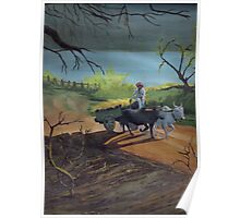 An early morning scene of a farmwr on his cart Poster