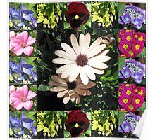 Bright and Beautiful - Floral Collage Poster
