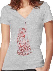 Onna-bugeisha 女武芸者 Women's Fitted V-Neck T-Shirt