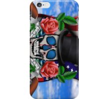 Abstract Skull with wings in sky illustration  iPhone Case/Skin