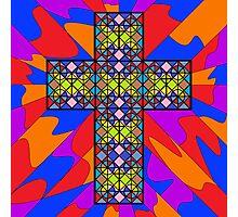 Stain Glass Cross  Photographic Print