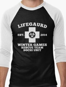 Sochi Winter Games Lifeguard Bio Hazard Rescue Team T Shirt Men's Baseball ¾ T-Shirt