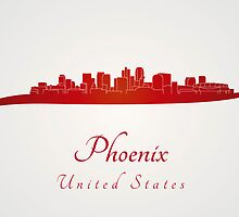 Phoenix skyline in red by paulrommer