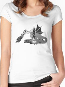 Dragon on Pile of Skulls in Black and White Women's Fitted Scoop T-Shirt