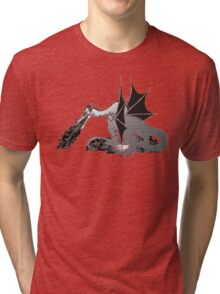 Dragon on Pile of Skulls in Black and White Tri-blend T-Shirt