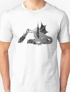 Dragon on Pile of Skulls in Black and White T-Shirt