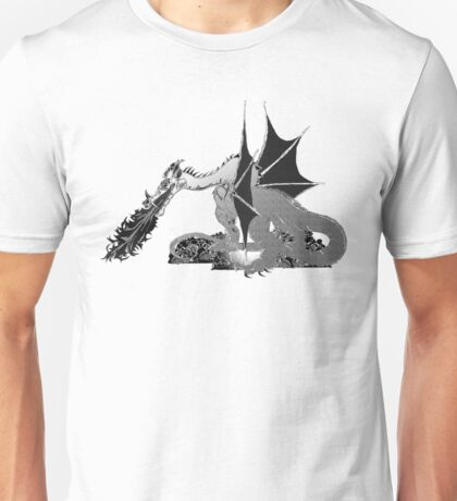 Dragon on Pile of Skulls in Black and White Unisex T-Shirt