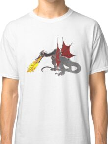 Dragon Breathing Fire on Pile of Skulls in full color Classic T-Shirt