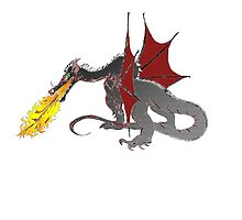 Dragon Breathing Fire on Pile of Skulls in full color by Silverepiphany