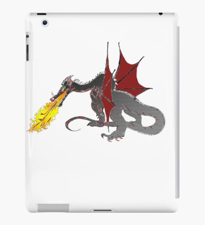 Dragon Breathing Fire on Pile of Skulls in full color iPad Case/Skin