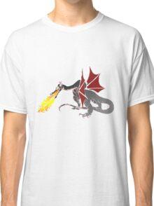 Dragon Breathing Fire on Pile of Skulls color blocks Classic T-Shirt