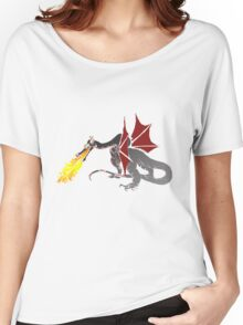 Dragon Breathing Fire on Pile of Skulls color blocks Women's Relaxed Fit T-Shirt