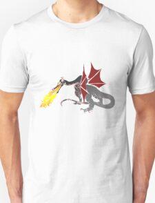 Dragon Breathing Fire on Pile of Skulls color blocks Unisex T-Shirt