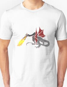 Dragon Breathing Fire on Pile of Skulls color blocks T-Shirt