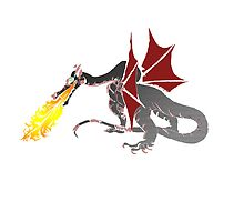 Dragon Breathing Fire in color blocks by Silverepiphany