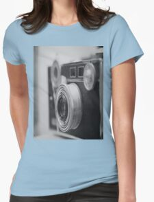 Camera Black White Womens Fitted T-Shirt