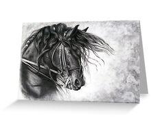 Django of Cacharel - Friesian Grand Prix Dressage Horse Greeting Card