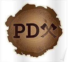 PD Axe on Wood Grain Poster