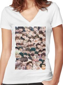 BTS/Bangtan Sonyeondan - Faces Women's Fitted V-Neck T-Shirt