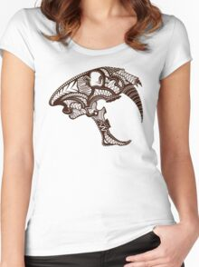 Sabre Tooth Tiger Skull Women's Fitted Scoop T-Shirt