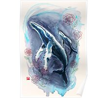 """""""Whales and Roses"""" Poster"""