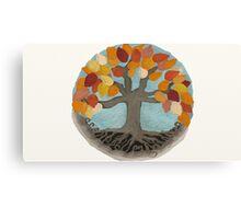 Golden Tree in Autumn Mandala Illustration Canvas Print
