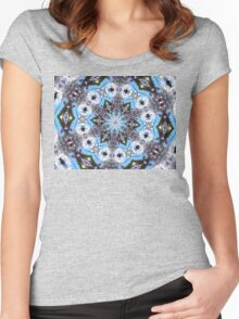 Blue sky with purple and white flowers mandala. Women's Fitted Scoop T-Shirt