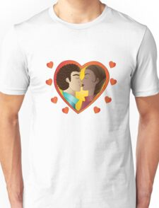 Lovers on green background Unisex T-Shirt
