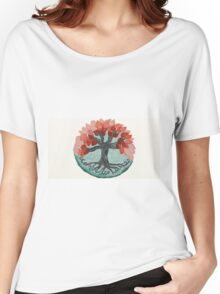 Lovely Autumn Tree Mandala Oil Painting Women's Relaxed Fit T-Shirt