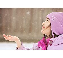 Catching Snowflakes Photographic Print
