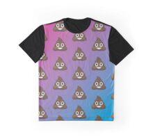 Poop Emoji Pattern Pink and Blue Graphic T-Shirt