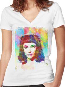 Elizabeth Taylor in Cleopatra Women's Fitted V-Neck T-Shirt